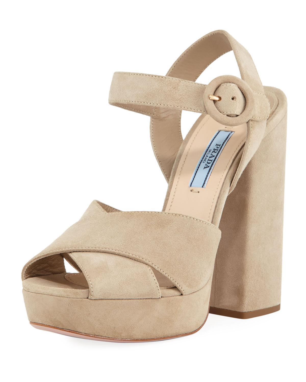 d49dac30fcdb Lyst - Prada Suede Platform Ankle-strap Sandal in Natural
