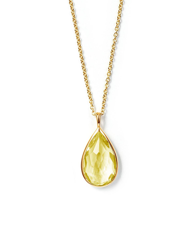 Ippolita 18k Rock Candy Teardrop Pendant Necklace, Citrine