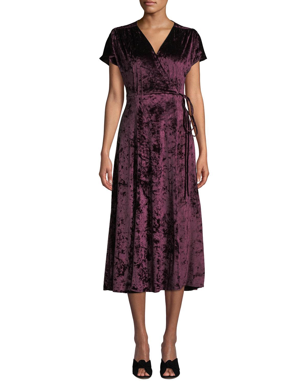 3a08c56d2424 Lyst - Tahari Velvet Tie-front Wrap Dress in Red