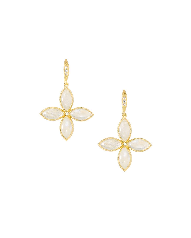 Indulgems Textured Floral Drop Earrings, White