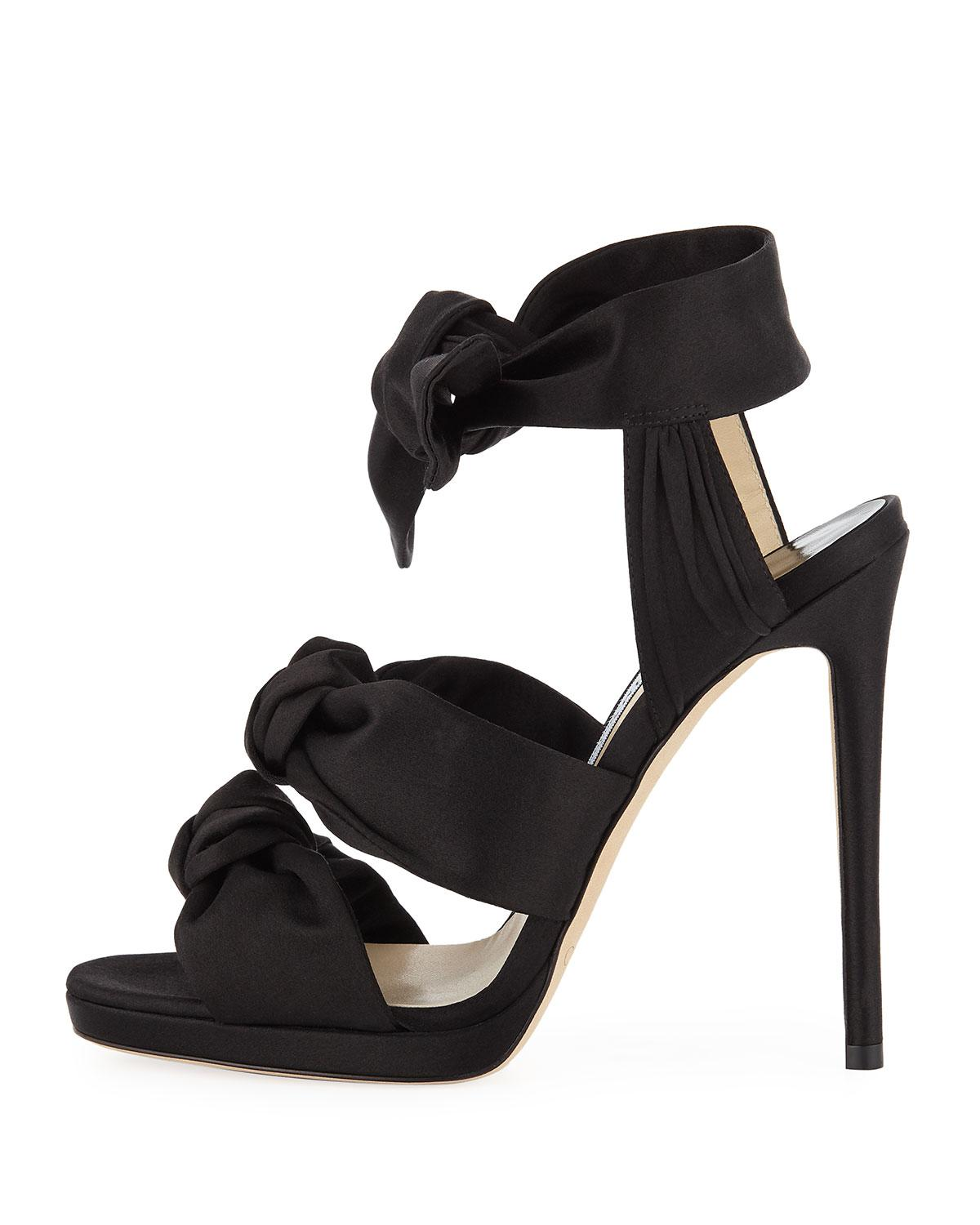 336520612f9a20 Lyst - Jimmy Choo Kris 120mm Knotted Satin Sandals in Black