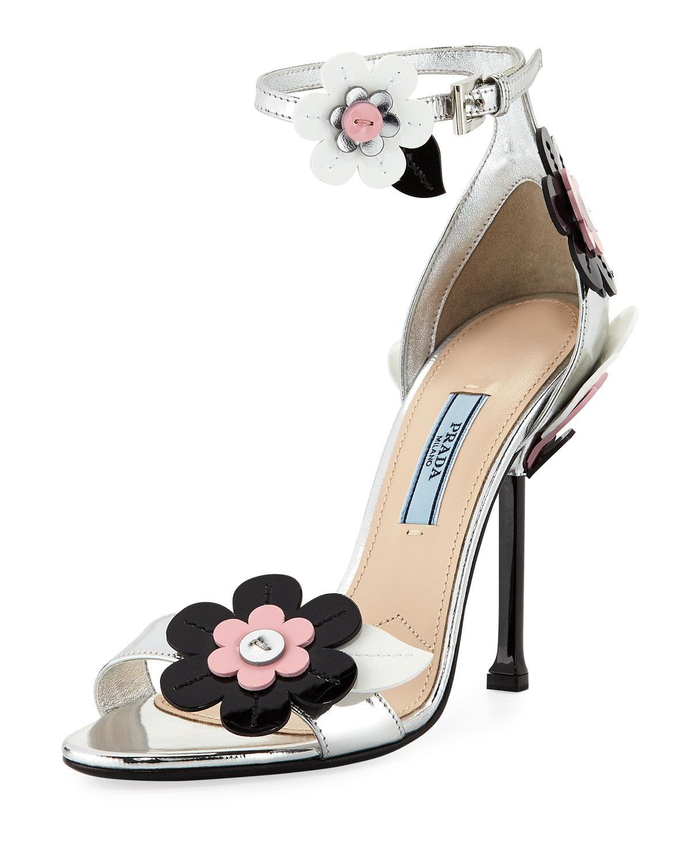 273677d81c96 Prada - Metallic Floral Ankle-wrap 110mm Sandal - Lyst. View fullscreen