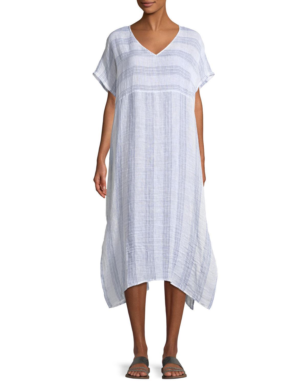 629ce25673 Lyst - Eileen Fisher Gauze Striped Organic Linen V-neck Dress in Blue