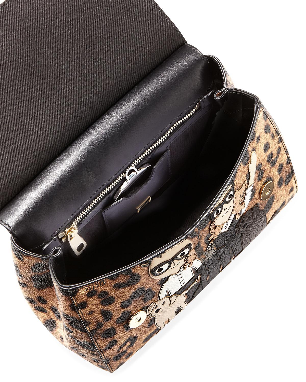 Lyst - Dolce   Gabbana Sicily Medium Dg Family Patch Bag Brown black 2e02dfa48ac30