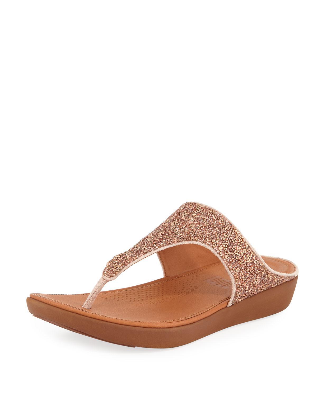 83f84d128a5 Lyst - Fitflop Banda Ii Quartz Glitter Thong Sandals in Natural