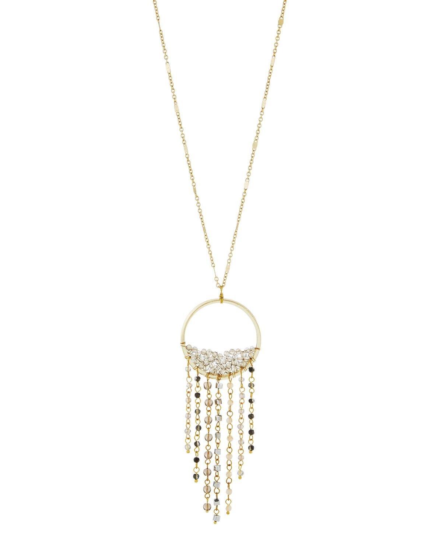 Panacea Circle Fringe Crystal Pendant Necklace Vr7Z3IeTWa