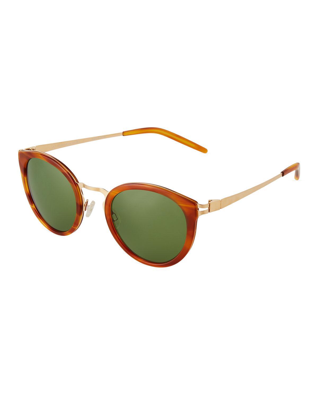 1b044b7e472d Lyst - Barton Perreira Round Havana Acetate metal Sunglasses in Brown