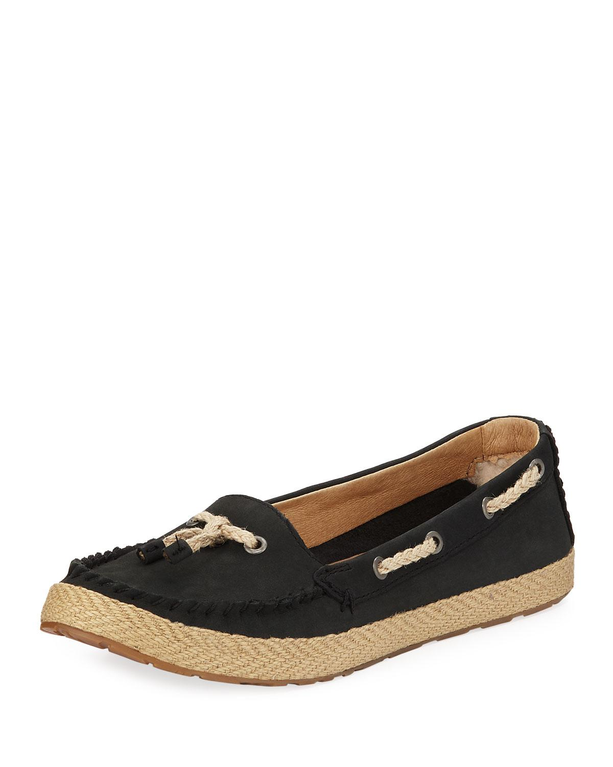 dbe3904e760 Lyst - UGG Chivon Leather Flat Loafers Black in Black