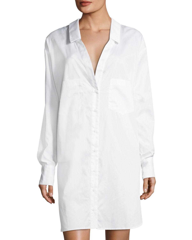 Lyst Kendall Kylie Boyfriend Oversized Poplin Shirtdress In White