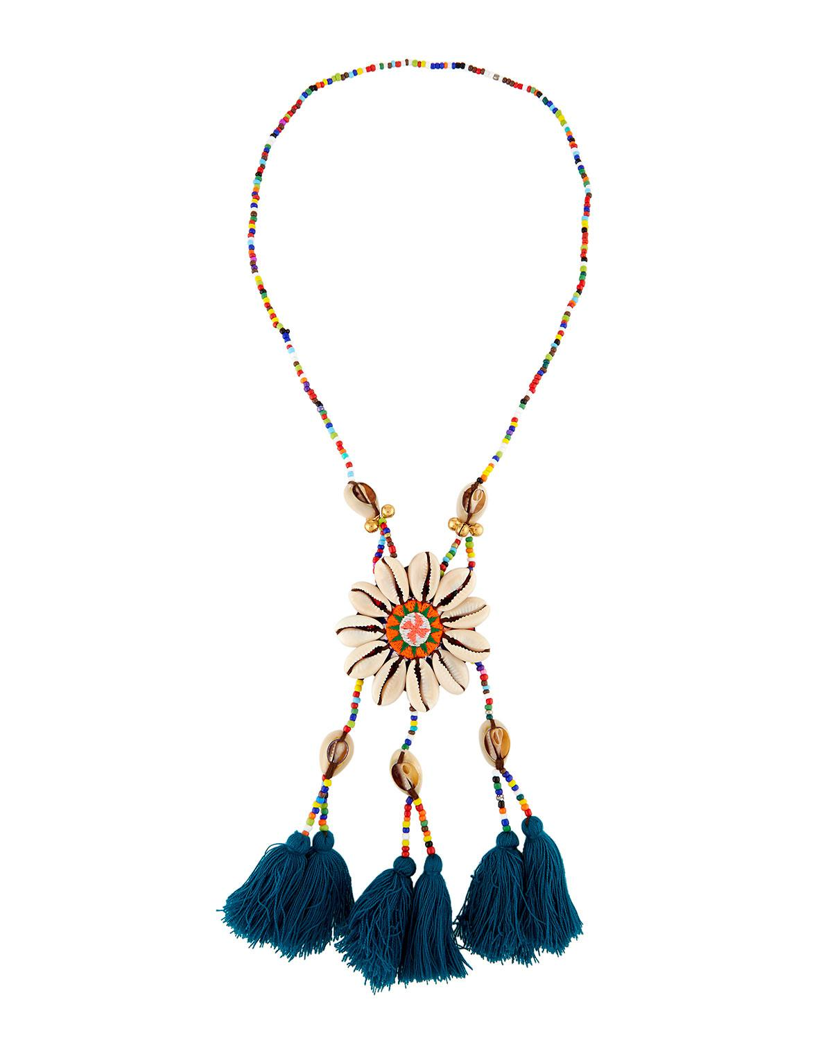 Panacea Beaded Necklace w/ Embroidered Circle Pendant, Blue