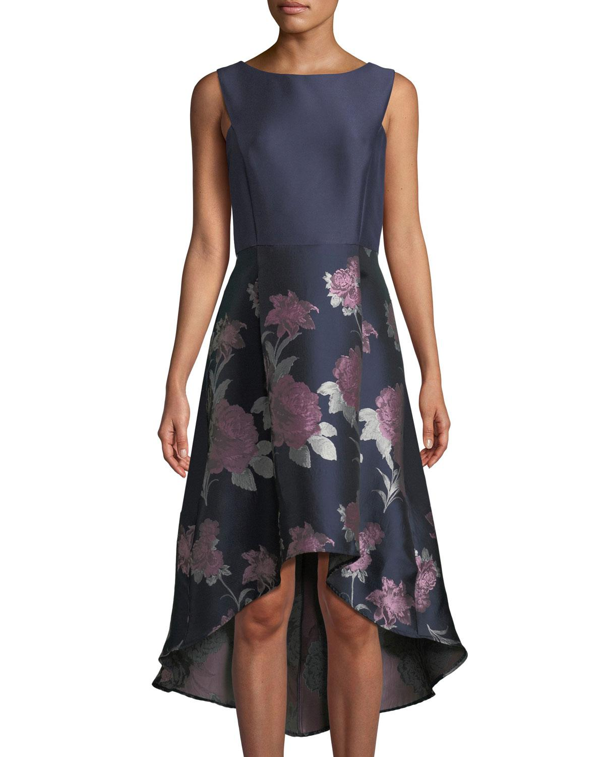 bb0952038e Donna Ricco Taffeta Floral-skirt High-low A-line Cocktail Dress in ...
