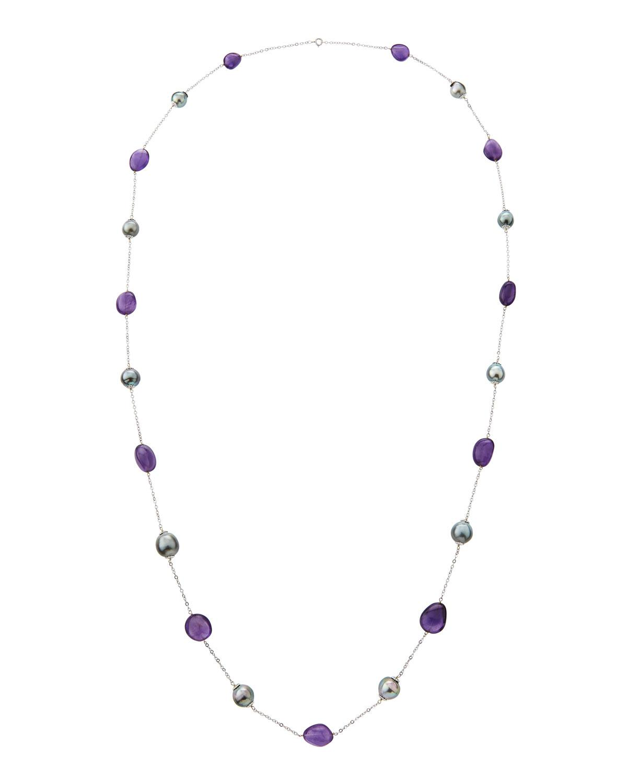 Belpearl 18k Long Amethyst & Tahitian Pearl Necklace J4hhxaB