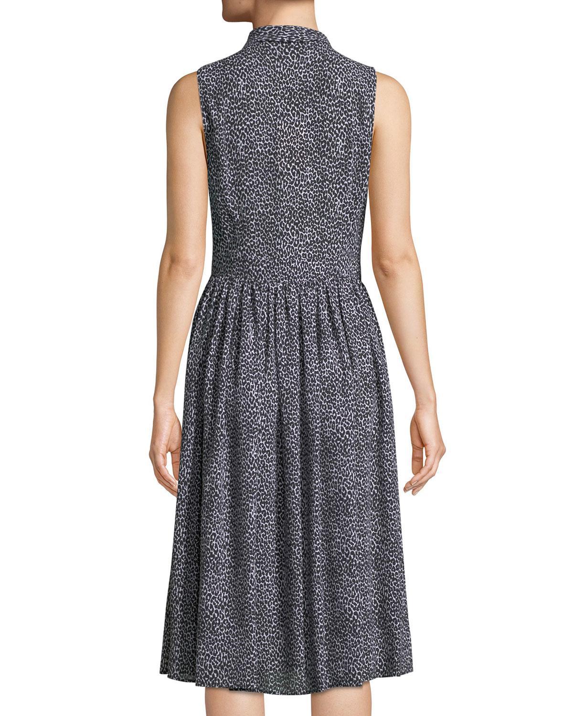 8f89f642c961 Lyst - Michael Kors Leopard-print Sleeveless Silk Shirtdress Black/white in  Black