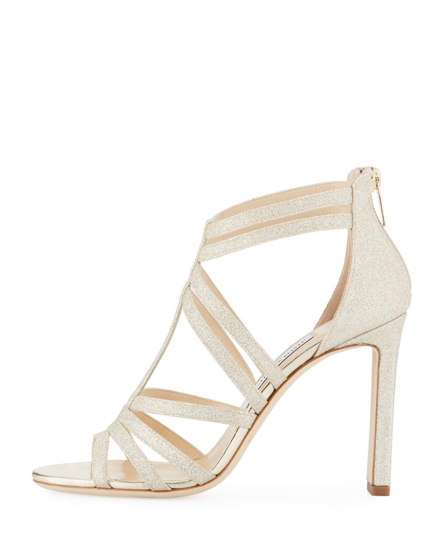 66d8861c155b Lyst - Jimmy Choo Selina Glitter Strappy Sandals in Metallic