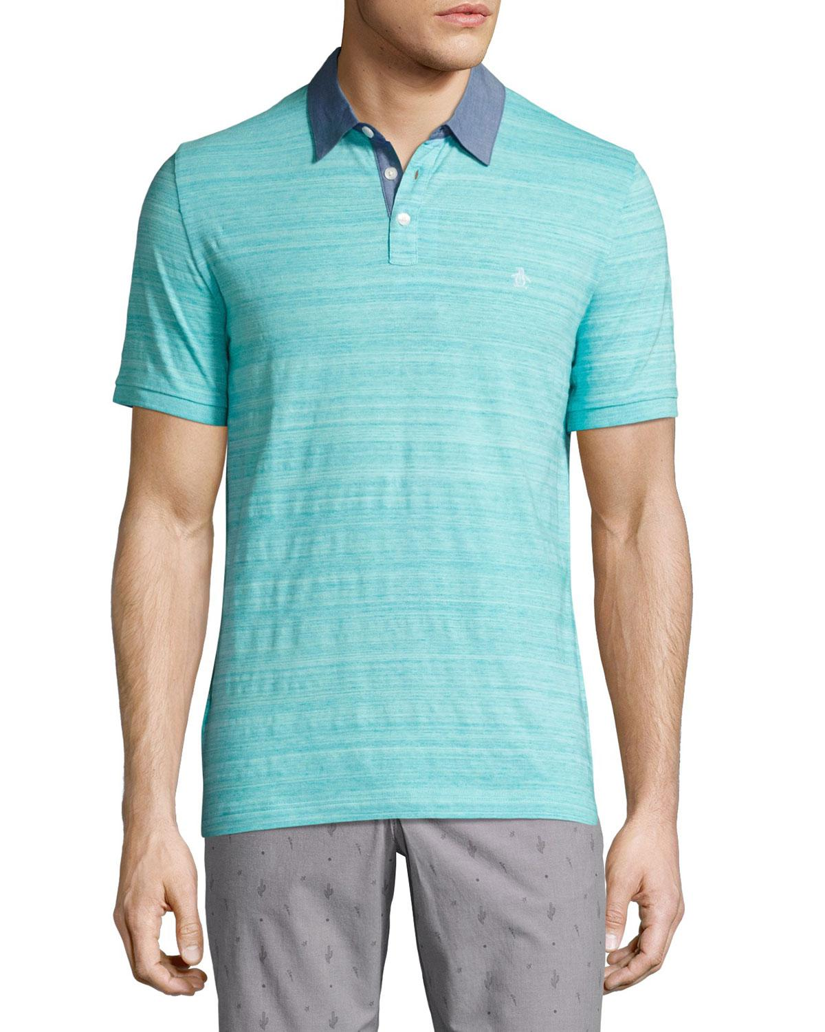 Lyst - Original Penguin Space Dye Jersey Polo Shirt in Blue for Men 87af5d8dc5759