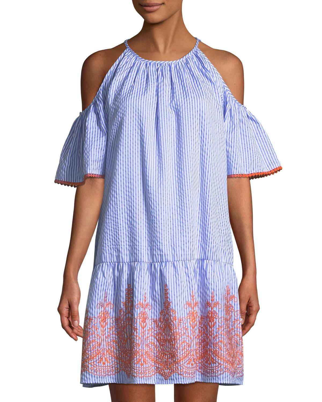 87ed2481d11b Lyst - Maggy London Cold-shoulder Seersucker Shift Dress in Blue