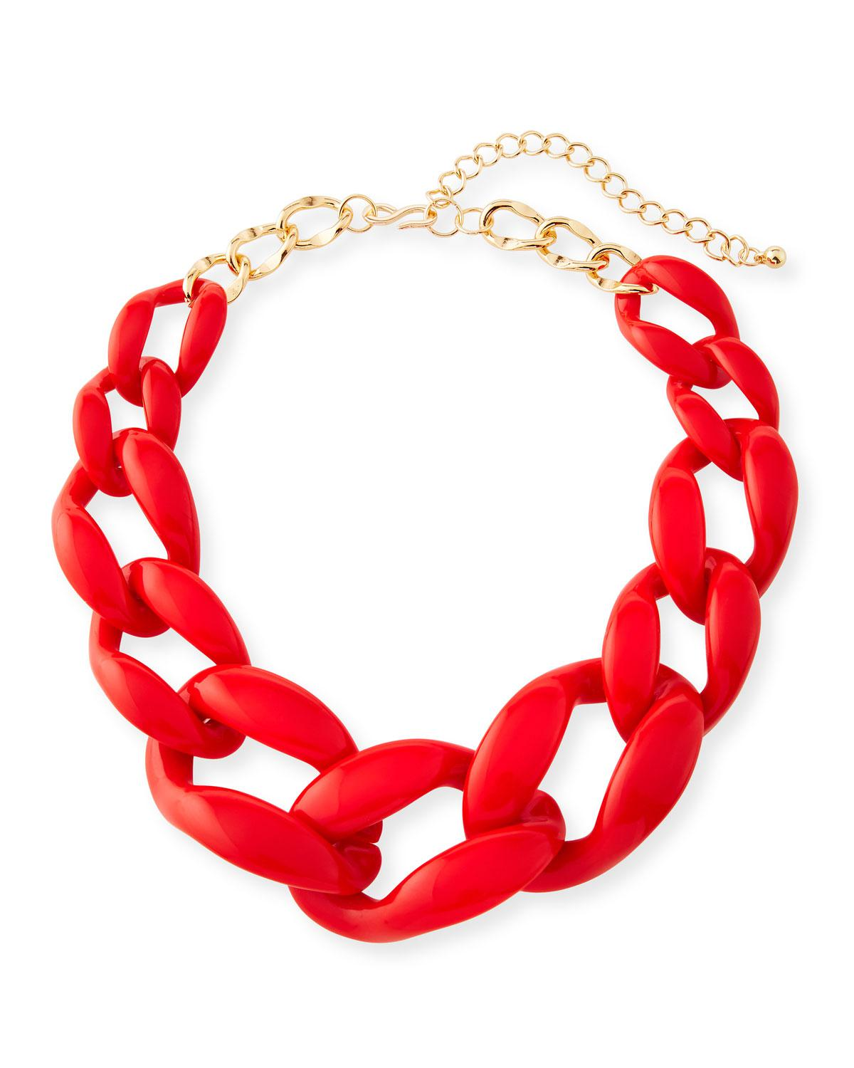 Kenneth Jay Lane Graduated Resin Link Necklace, Red