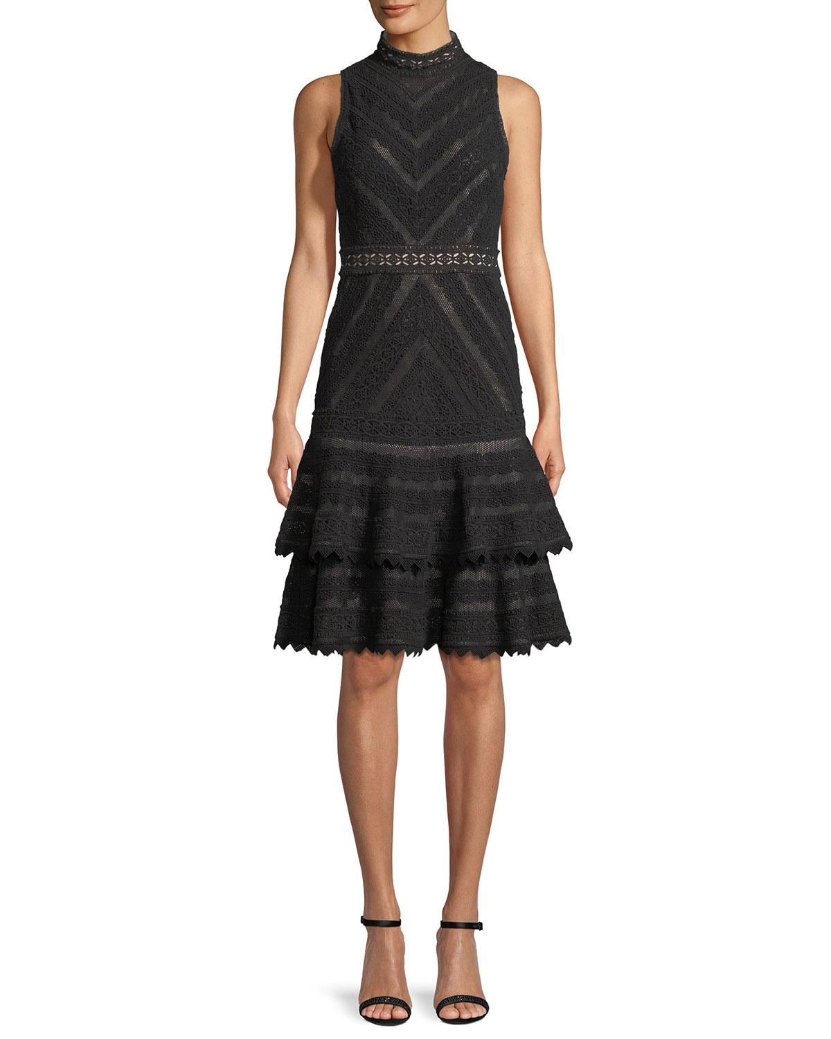 Alice Olivia Azita Sleeveless Fit And Flare Tiered Lace