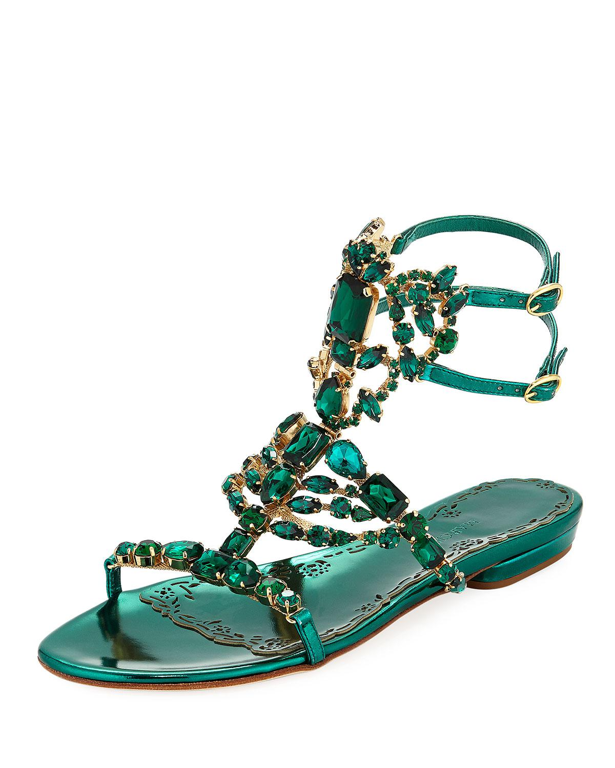 89487f0ac14e Lyst marchesa emily jeweled flat sandals in green jpg 1200x1500 Green flat  sandals for women