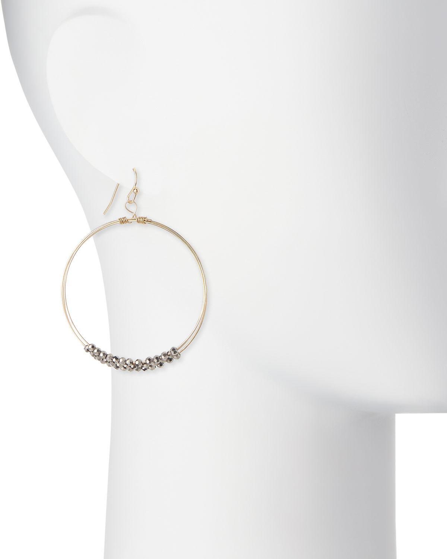 Panacea Multilayer Hematite Crystal Hoop Earrings K8YS7F