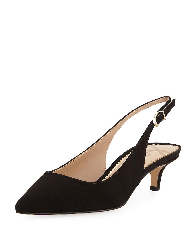 6bb4766cb92772 Lyst - Sam Edelman Ludlow Suede Kitten-heel Slingback Pumps in Black ...