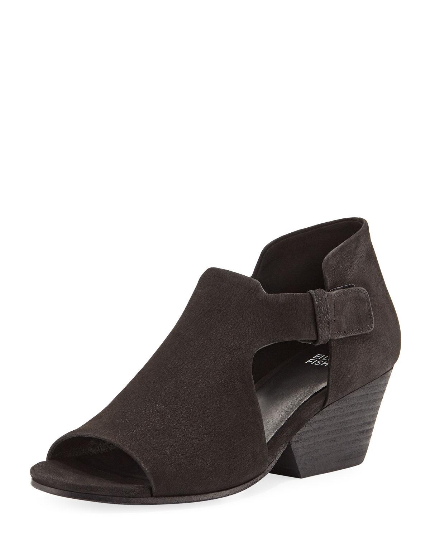 3ade87c99e01 Lyst - Eileen Fisher Iris Nubuck Bootie Sandals in Black