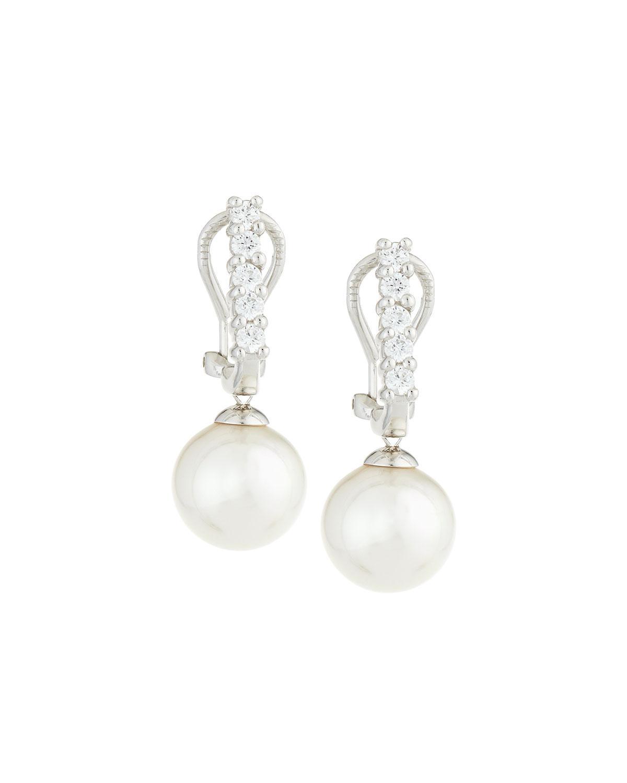 Majorica Pearly Pear & Cubic Zirconia Drop Earrings S9HIk4