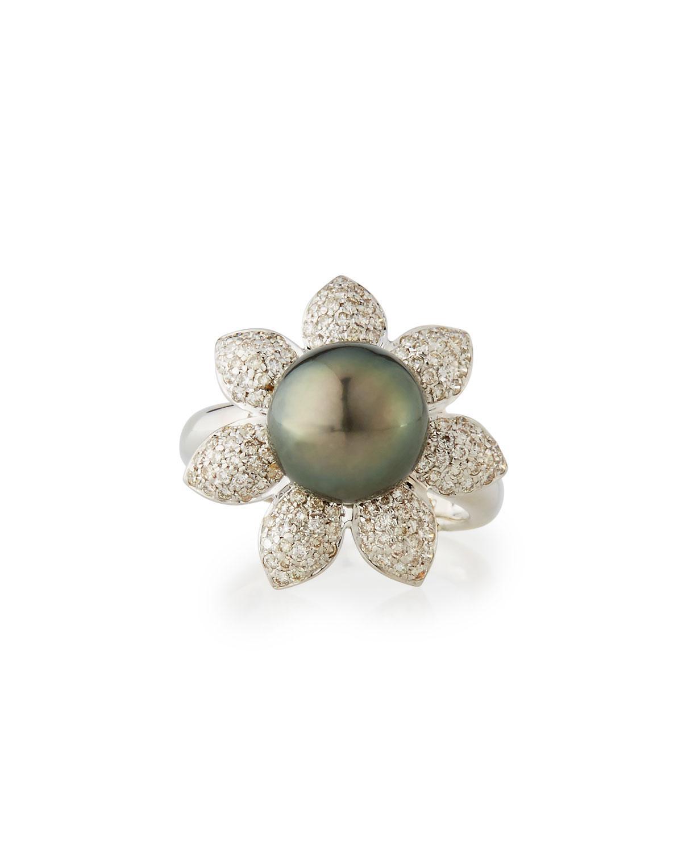 Belpearl 14k Three-Point Diamond & Tahitian Black Pearl Ring gguCm61L8U