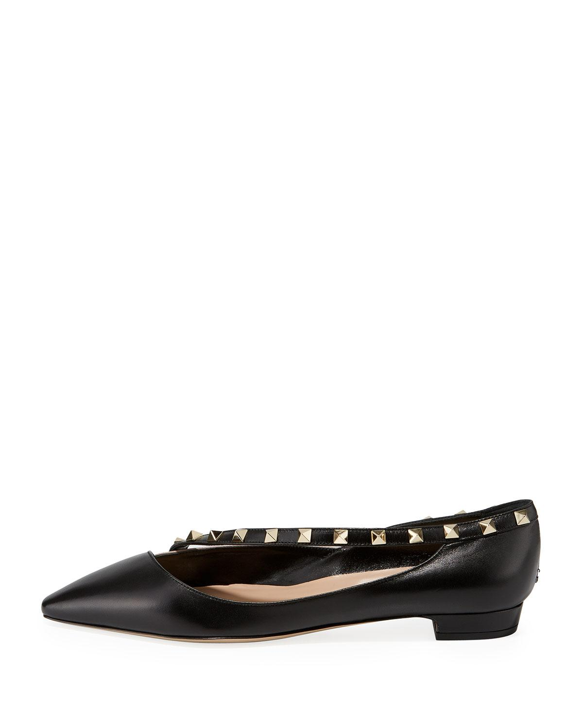 2dca8c90501a Lyst - Valentino Rockstud Cross-strap Leather Flats in Black