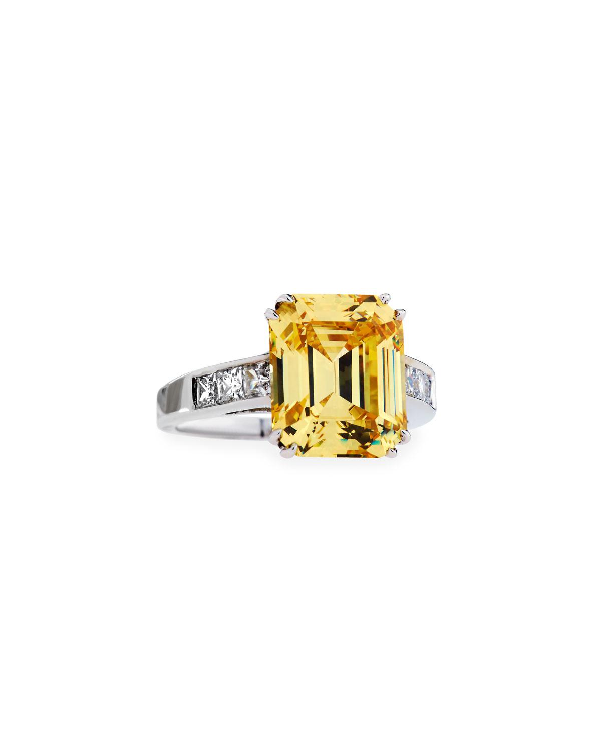 Fantasia Emerald-Cut Yellow CZ Ring with Tapered Baguettes t7pyWUGpT