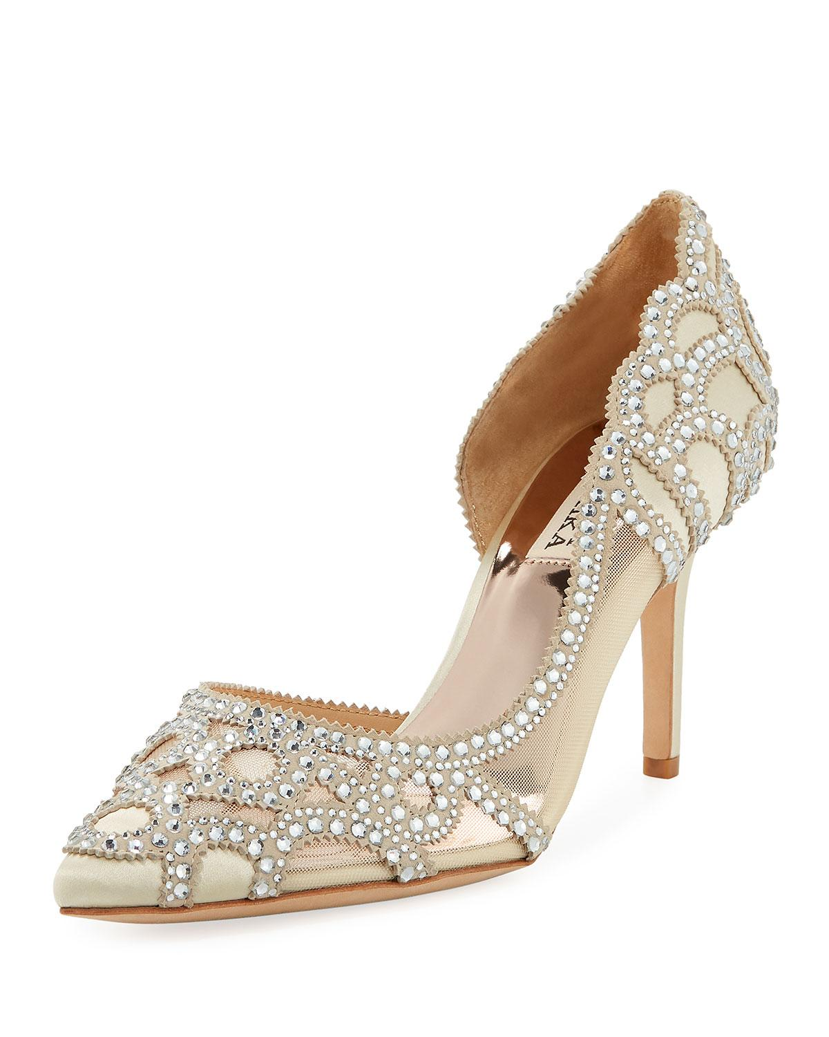 60eef2811d2 Lyst - Badgley Mischka Marissa Crystal-embellished Satin Pumps in White