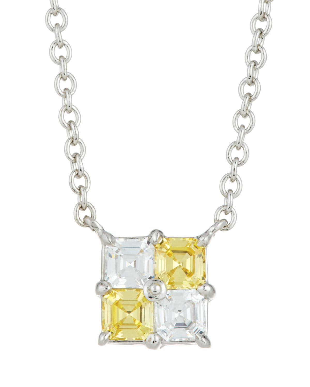 Fantasia Asscher-Cut Crystal Pendant Necklace