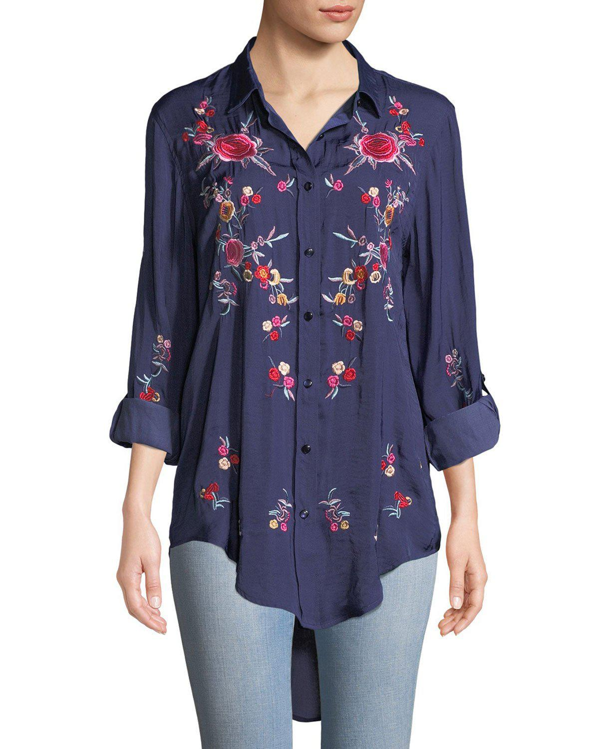 153a4c0ed51 Lyst - Neiman Marcus Embroidered Button Front Tunic in Blue