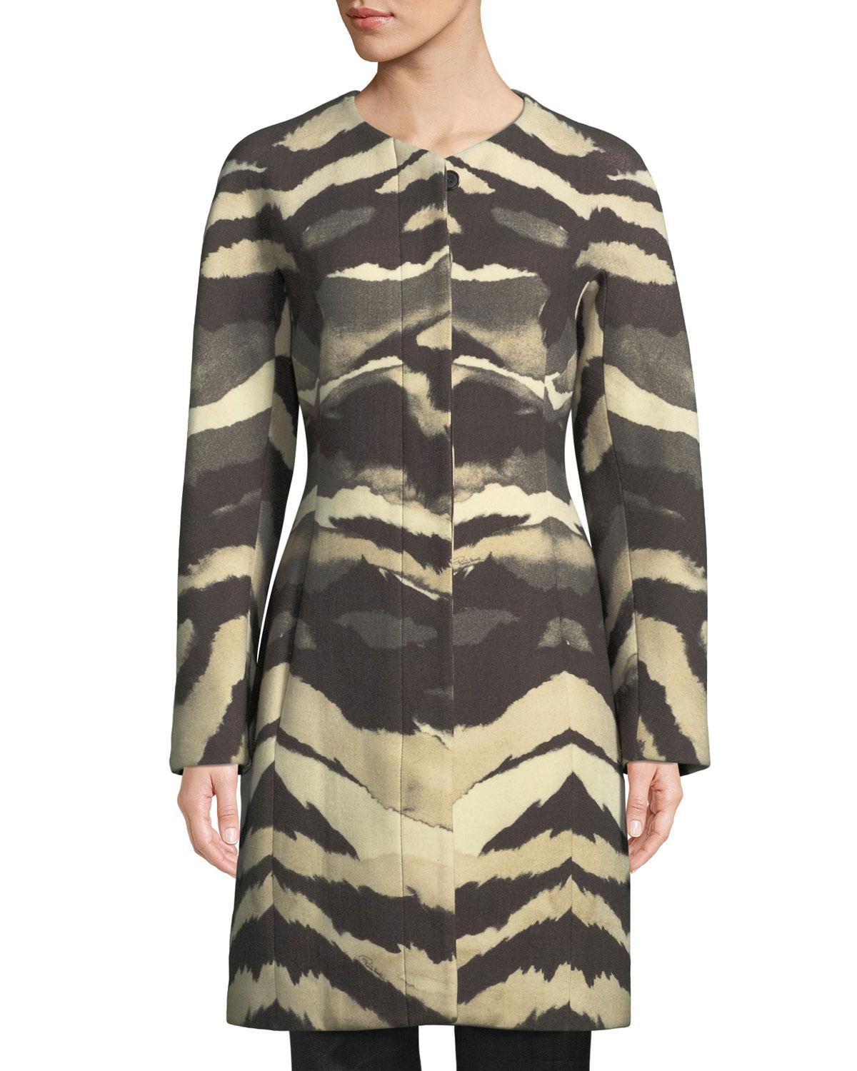 9d18c363fc16 Roberto Cavalli Crewneck Printed Wool Car Coat in Black - Lyst