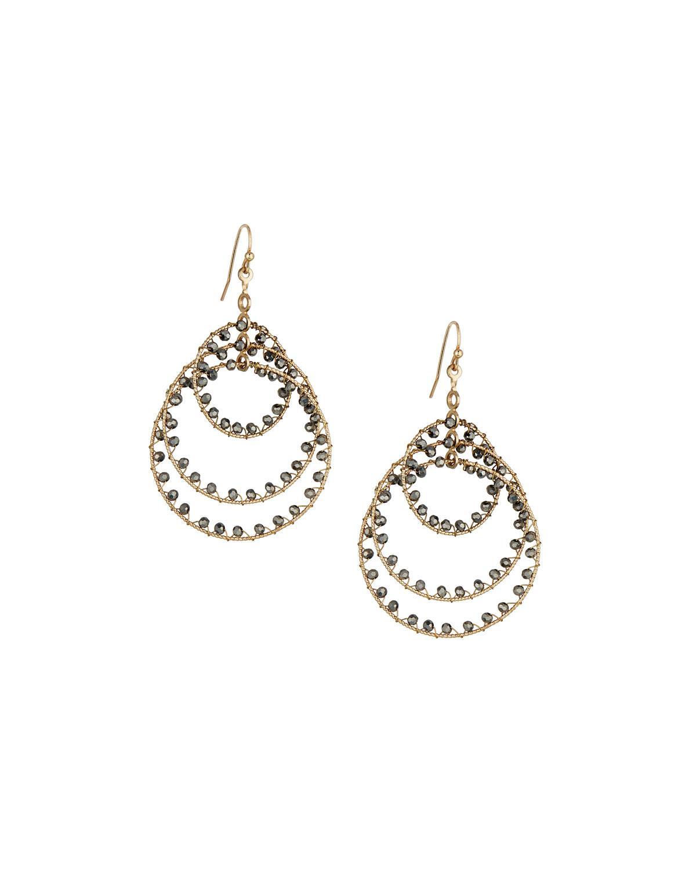Panacea Crystal Circle Drop Earrings, Peach