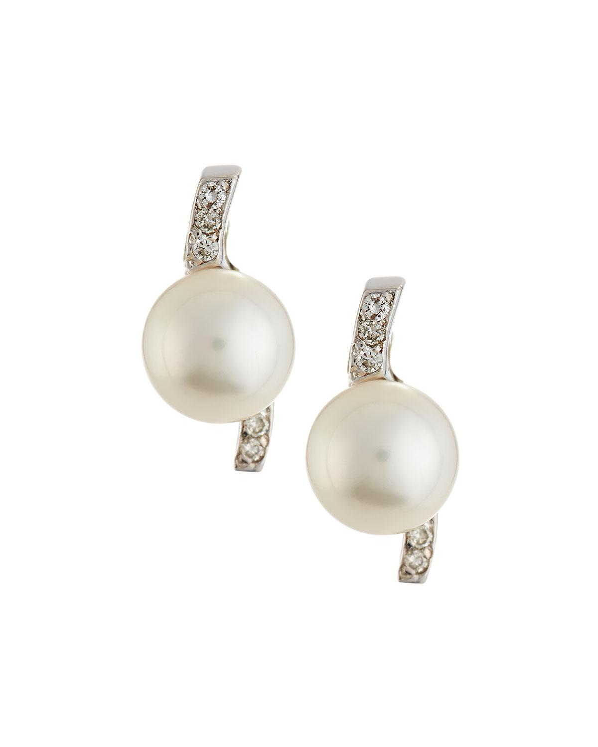 Belpearl Diamond-Cap Oblong Akoya Pearl Earrings kSOeDuVFR
