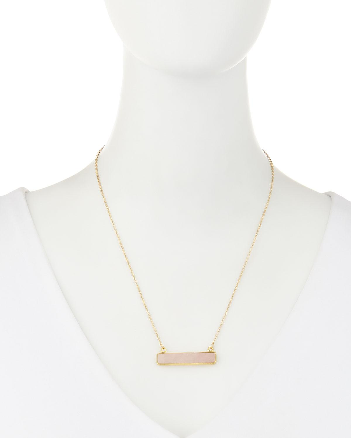 Panacea Stone Bar Pendant Necklace, Light Pink