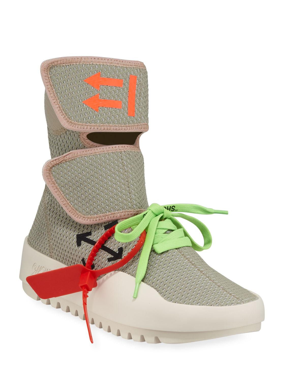 9a33f9c3408f95 Off-White c/o Virgil Abloh. Gray Men's Moto Wrap High-top Knit Sneakers