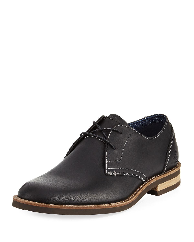 Original Penguin. Men's Black Wade Leather Lace-up Oxford
