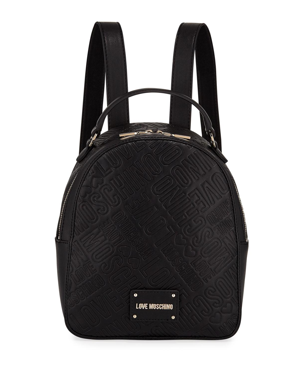 3a82618998367 Love Moschino - Black Embossed Logo Medium Backpack - Lyst. View fullscreen
