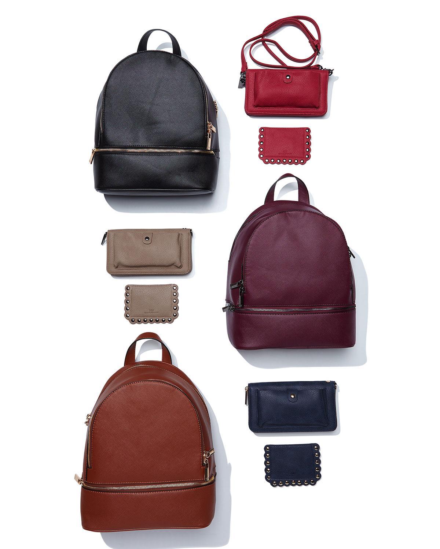 Lyst - Neiman Marcus Saffiano Dual-zip Backpack in Purple