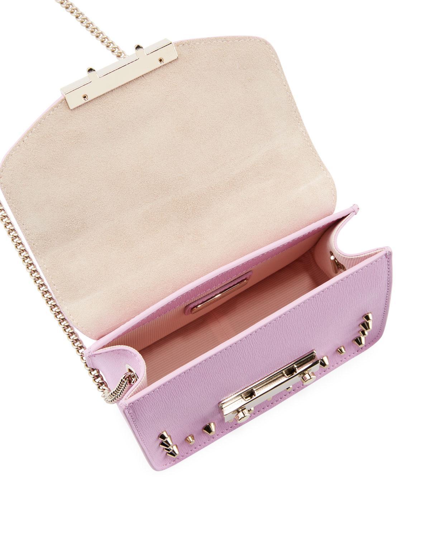 29a8f5a19068 Lyst - Furla Julia Mini Studded Saffiano Leather Crossbody Bag