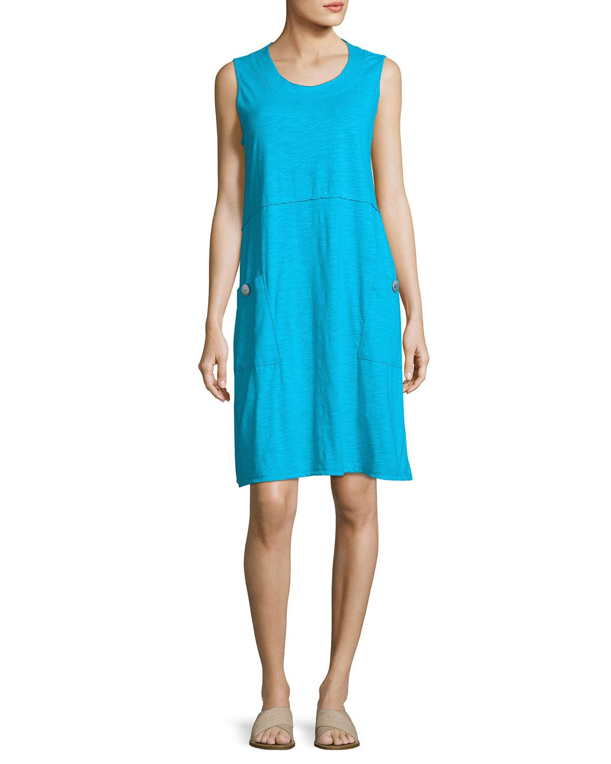 Lyst - Neon Buddha Napa Patch-pocket Jersey Dress in Blue