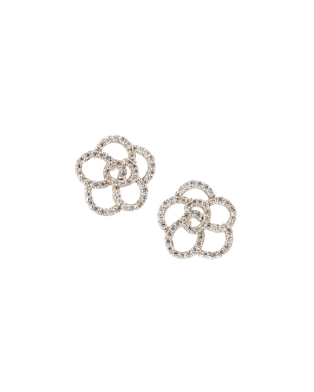 Fantasia CZ Flower Cluster Earrings, Canary/Clear