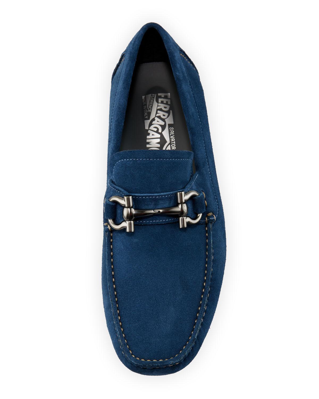 a694eb56bec Lyst - Ferragamo Men s Parigi Gancio-bit Suede Drivers Light Blue in Blue  for Men