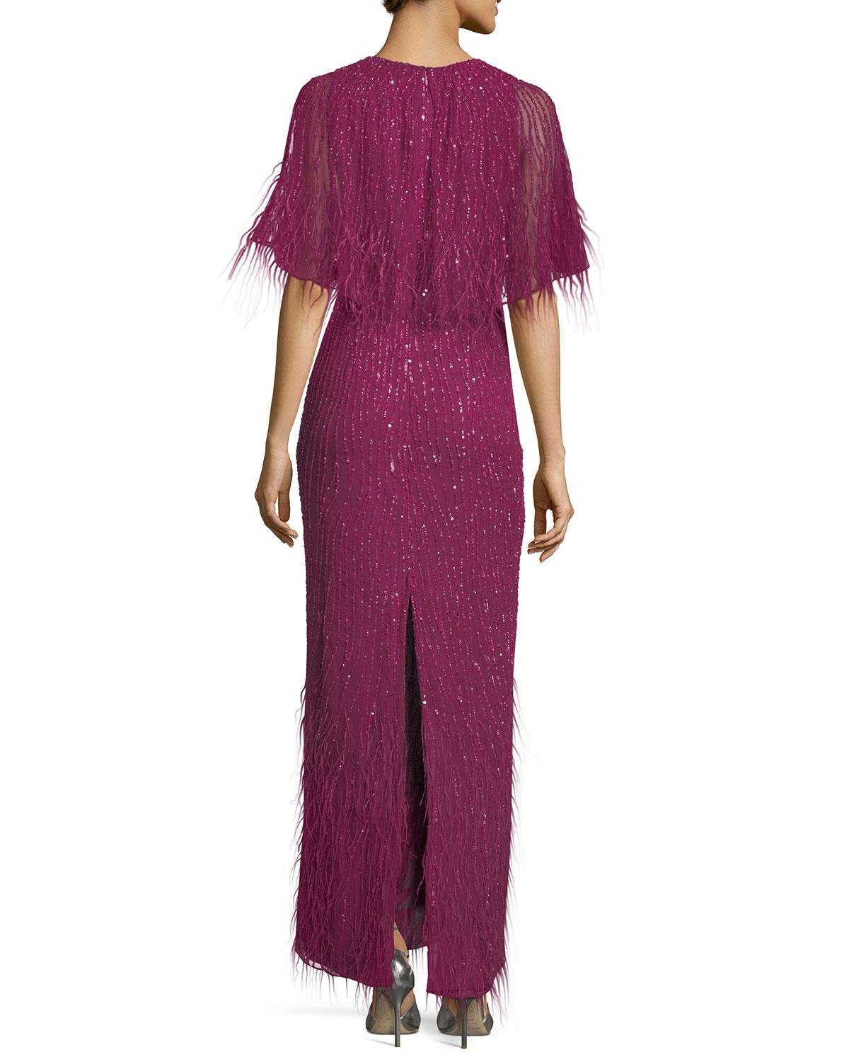 Lyst - Parker Black Lorena Sequined Feathered Evening Gown in Purple