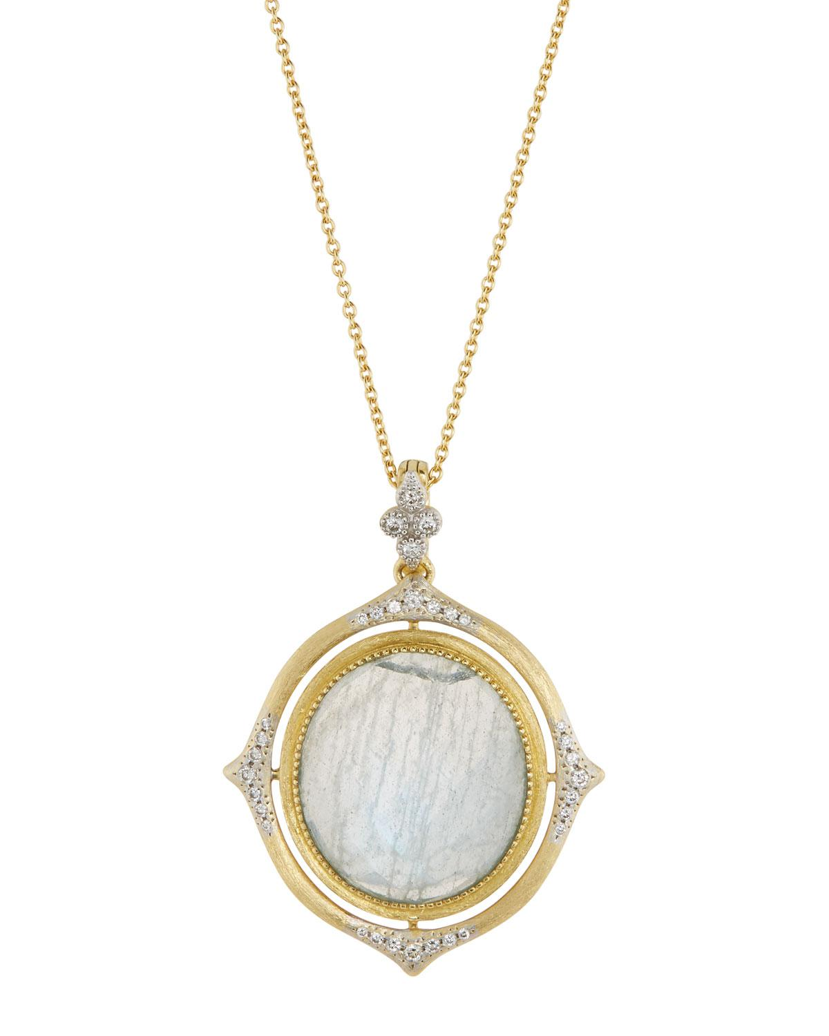 Jude Frances Moroccan Oval Pendant Necklace, Amazonite/Moonstone