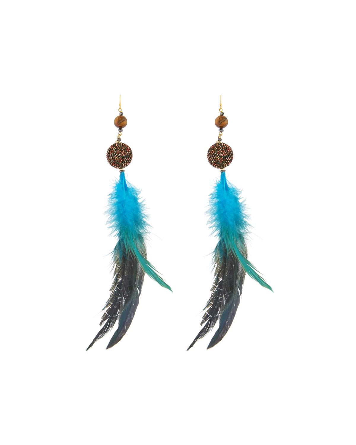 Nakamol Feather Garnet Drop Earrings