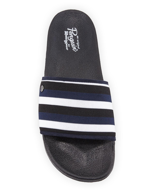 9eeb1bc2223 Lyst - Original Penguin Men s Break Striped Knit Pool Slides in Blue for Men
