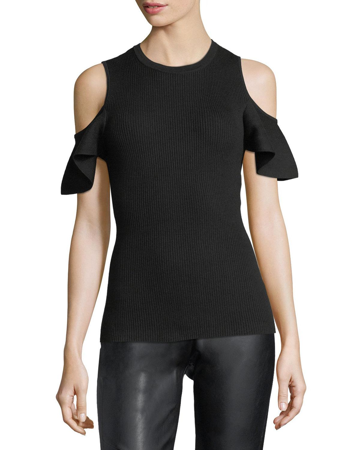 Lyst - Laundry By Shelli Segal Cold-shoulder Ribbed ...